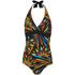 Zoggs Women's Neon Tribal Plunge Swimsuit - Black/Multi: Image 1