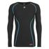 Skins A200 Mens Thermal Long Sleeve Compression Round Neck Top - Black/Neon Blue: Image 1