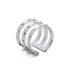 Maria Francesca Pepe Women's Encrusted Triple Band Ring - Rhodium: Image 2
