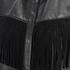 Ganni Women's Leather Fringed Shirt Dress - Black: Image 3
