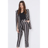 Lavish Alice Women's Stripe Crossover D-Ring Peg Leg Trousers - Black/Cream/Burgundy: Image 3