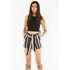 Lavish Alice Women's Stripe Tie Side Shorts - Black/Cream/Burgundy: Image 3
