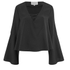 Lavish Alice Women's Lace Up Deep Plunge Bell Long Sleeve Top - Black: Image 1