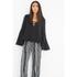 Lavish Alice Women's Lace Up Deep Plunge Bell Long Sleeve Top - Black: Image 2