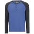 Brave Soul Men's Rasmus Grandad Long Sleeved Top - Ocean Blue/Charcoal: Image 1