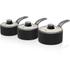 Swan SWPS3020BN Retro 3 Piece Aluminium Saucepan Set - Black: Image 1