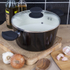 Tower T90922B Taper Ceramic Coated Casserole Dish - Black - 24cm: Image 3