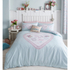 Catherine Lansfield Heart Panel Bedding Set - Duck Egg: Image 1