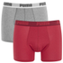 Puma Men's 2 Pack Basic Boxers - Red/Grey: Image 1