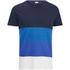 Jack & Jones Men's Core Dylan Block Stripe T-Shirt - Navy Blazer: Image 1