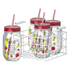 Parlane Smoothie Jars with Straws - Clear/Red (Set of 4): Image 1