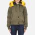 KENZO Women's Removable Yellow Fur Lined Short Parka - Dark Khaki: Image 1