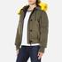 KENZO Women's Removable Yellow Fur Lined Short Parka - Dark Khaki: Image 2