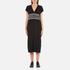 KENZO Women's Stripe Logo Mid Cotton Dress - Black: Image 1