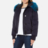 KENZO Women's Removable Navy Fur Lined Short Parka - Midnight Navy: Image 2