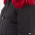 KENZO Women's Removable Red Fur Lined Short Parka - Black: Image 6