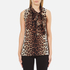 Boutique Moschino Women's Tie Neck Top - Leopard: Image 1