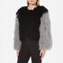 Charlotte Simone Women's Classic Fuzz Jacket - Black/Charcoal Grey - S/M: Image 2
