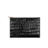 Aspinal of London Women's Essential Large Flat Croc Pouch - Black Croc: Image 1