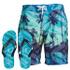 Smith & Jones Men's Onshore Swim Shorts & Flip Flops - Peacock Blue: Image 1