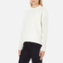 Maison Scotch Women's High Neck Sweatshirt With Special Textured Woven Front - White: Image 2