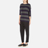 Paisie Women's Ribbed Jumper with Stripes - Navy/Grey: Image 4