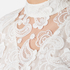 Perseverance Women's 3D Embroidered Paisley Top with Bell Sleeves and High Collar - White: Image 5