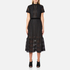 Perseverance Women's Cable Lace Midi Dress With High Neck and Ribbon Details - Black: Image 1