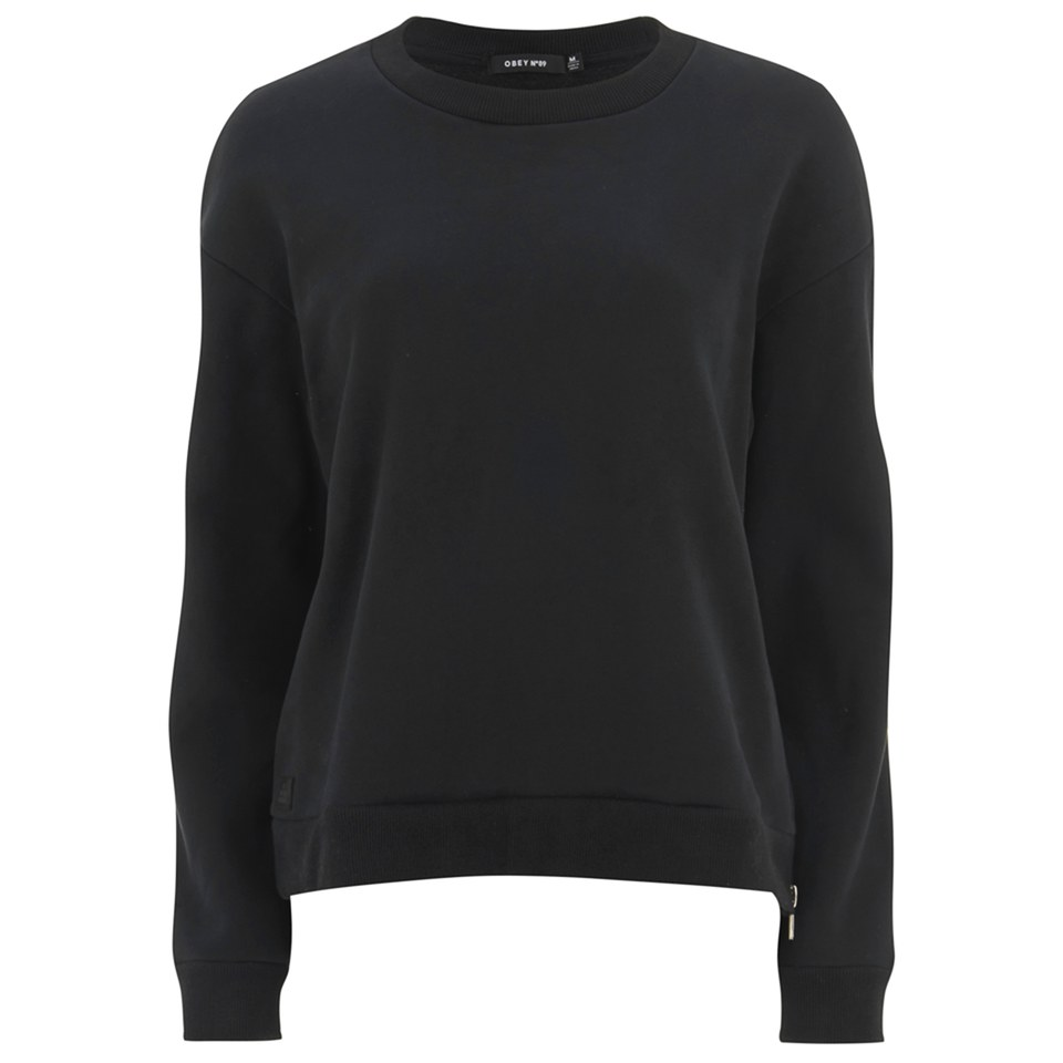 obey clothing women 39 s undercover crew neck pullover black free uk delivery over 50. Black Bedroom Furniture Sets. Home Design Ideas