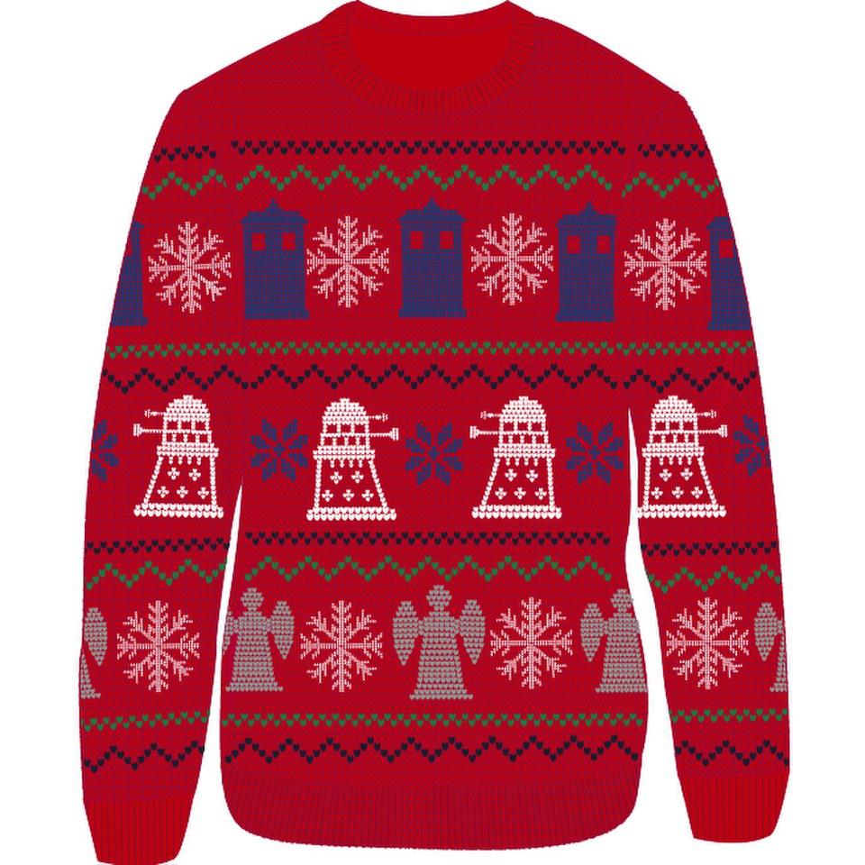 Doctor Who Dalek Snowflake Christmas Jumper - Red