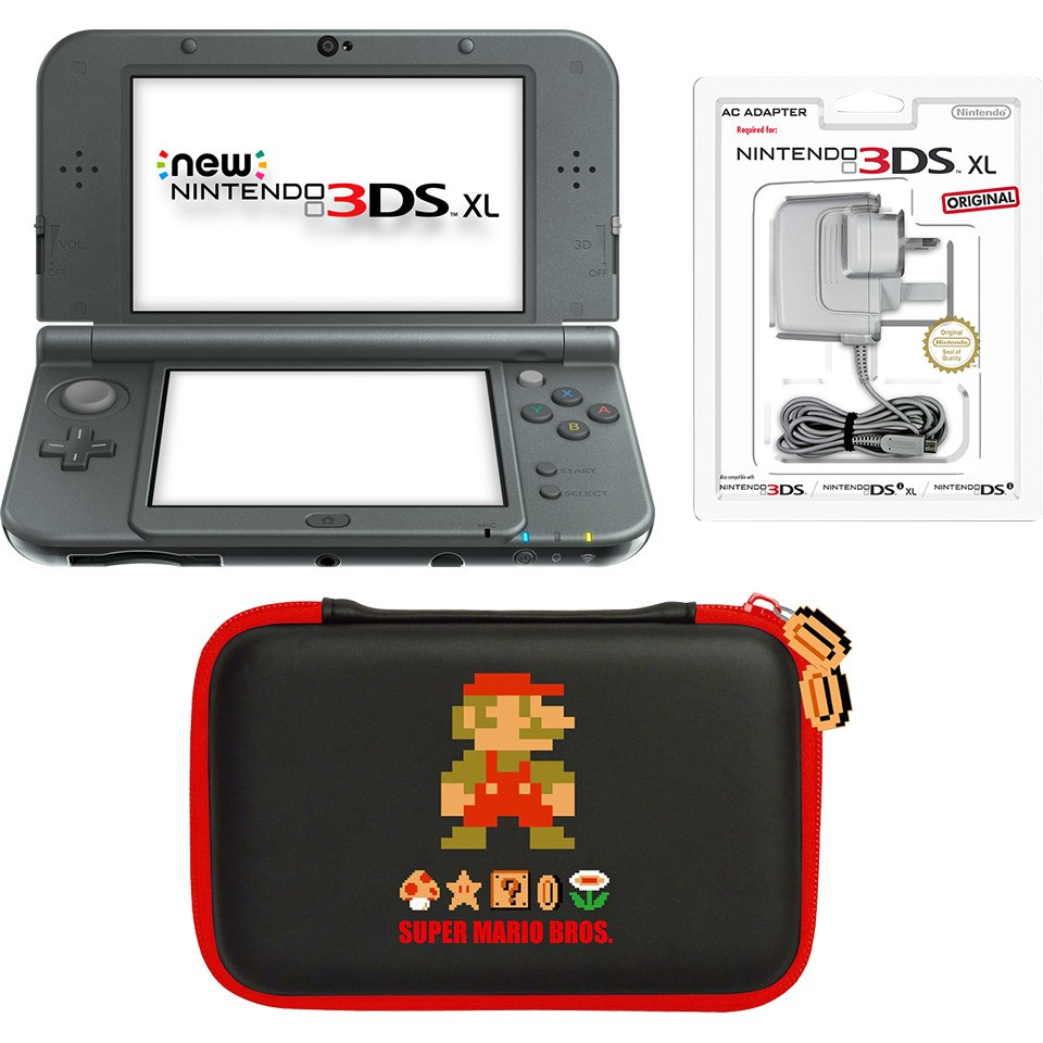 New Nintendo 3ds Xl Metallic Black Mario Retro Case Pack Nintendo Uk Store