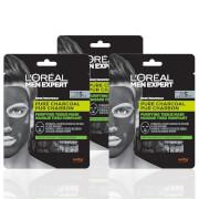 L'Oréal Paris Men Expert Pure Charcoal Face Mask x3