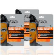L'Oréal Paris Men Expert Hydra Energetic Re-Charge Face Mask x3 (Worth £11.97)
