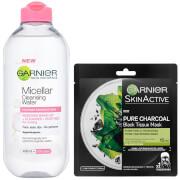 Garnier Micellar Water Sensitive Skin and Hydrating Face Sheet Mask for Enlarged Pores Kit Exclusive
