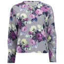 Carven Women's Print Floral Jersey Sweat - Blue