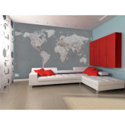 Silver Map Wall Mural