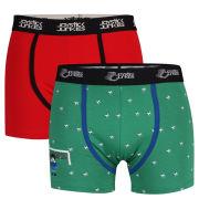 Joystick Junkies Men's 2-Pack Trunks - Green/Red