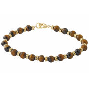 Gold Plated Genuine Tiger Eye Beaded Bracelet