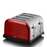 Swan Metallic 4 Scheiben Toaster - Rouge