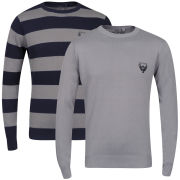 Ringspun Men's 2-Pack Hope Crew Neck Jumper - Solid Grey/Navy/Grey Stripe