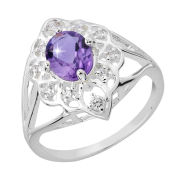 Silber Plated Oval Amethyst Ring