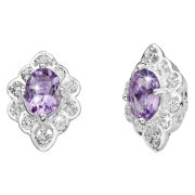 Silver Plated Oval Amethyst Earrings
