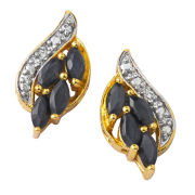 Gold Plated Oval Sapphire Earrings