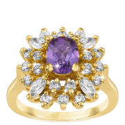 Amethyst Gold Plated Ring With Diamond Style Stones