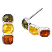 Amber Drop Coloured Gem Earrings