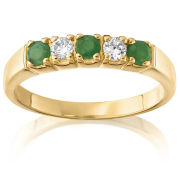 Gold Plated Alternating Emerald & Cubic Zirconia ring