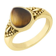 Gold Plated Pear Shaped Tiger Eye Ring