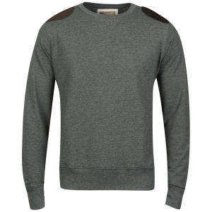 Brave Soul Men's Udolpho Crew Neck Sweatshirt with Cord Patches - Green Marl