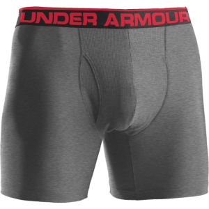 Under Armour Men's The Original 6 Inch Boxerjock - True Gray Heather/Red