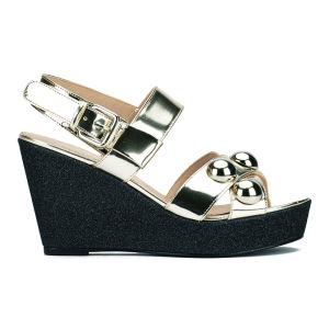 Markus Lupfer Women's Mirror Champagne Balls Wedged Sandals - Silver